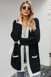 Thick Sweater Color Matching Cardigan Coat