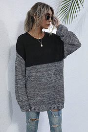Round Neck Loose Pullover Stitching Sweater