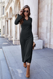 V-neck Slim Knit Dress