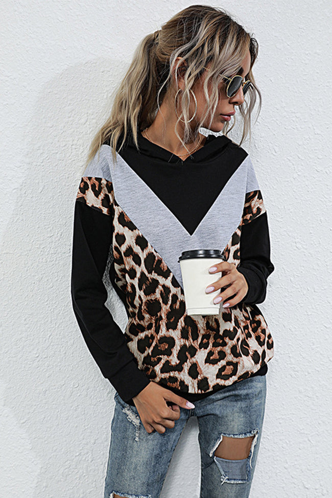 Leopard Print Contrast Stitching Long-sleeved Top