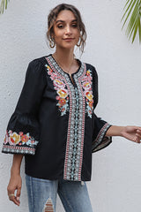 V-Neck Floral Embroidery Ruffled Three-Quarter Sleeve T-Shirt