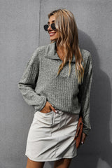 Solid Color Lapel Sweater