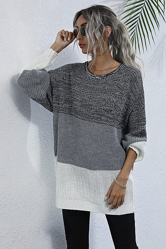 Round Neck Pullover Contrast Knit Sweater
