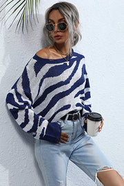 Striped Print Knitted Crew Neck Sweater