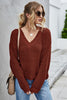 V-Neck Knitted Pure Color Base Shirt