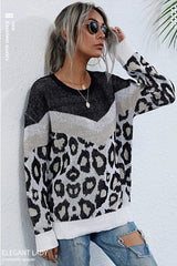 Leopard Print Stitching Long-sleeved Sweater