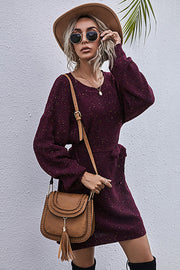 Solid Color Loose Belt Sweater Dress