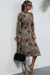 Leopard Print Mid-length Slim Dress