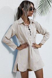 Long-sleeves Laces Hollow Stripes Shirt Dress