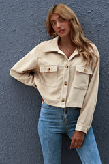 Corduroy Solid Color Button Pocket Shirt