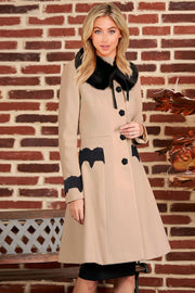 Single Breasted Fur Collar Lace Coat