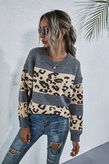 Crew Neck Leopard Print Sweater
