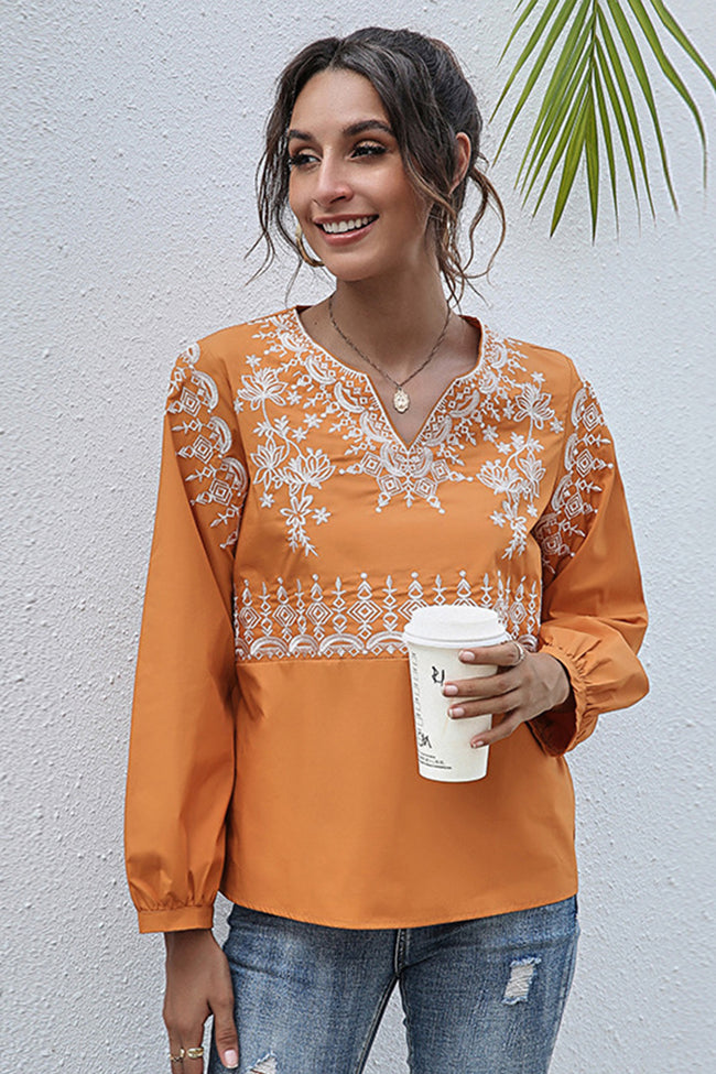 V-neck Printed Embroidery Long-sleeved T-shirt