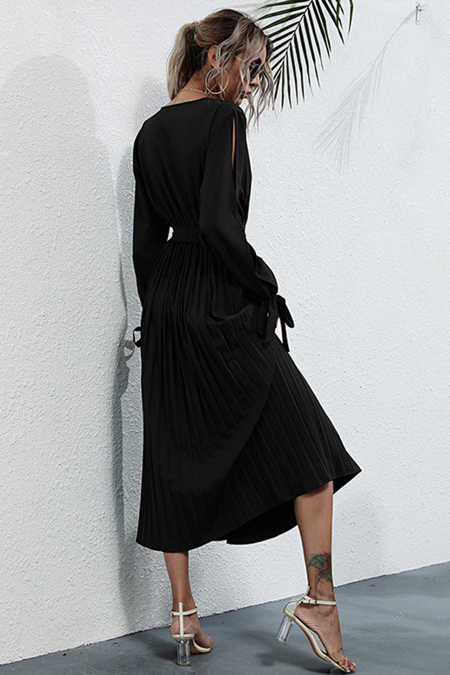 Solid Color Hollow Long Sleeve Pullover Dress
