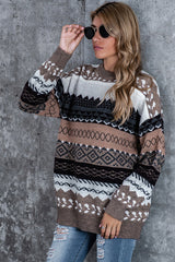Rhombus Print Loose Long Sleeve Sweater