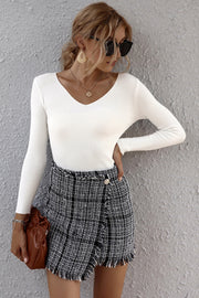Plaid Patchwork Irregular Skirt