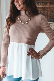 Stand Collar Knitted Patchwork Top