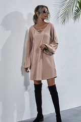 V-neck Lace Up Knit Dress