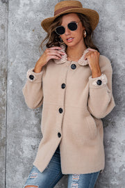 Plush Solid Color Button Lapel Coat