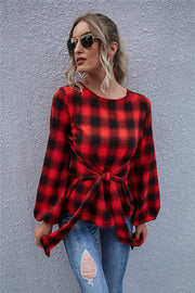 Vintage Plaid Lace Up Shirt