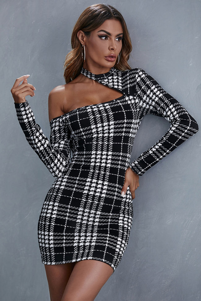 Stitching Plaid Hedging Wrap Hip A-line Skirt