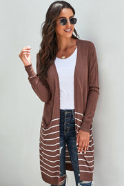 Striped V-neck Cardigan Medium Sweater