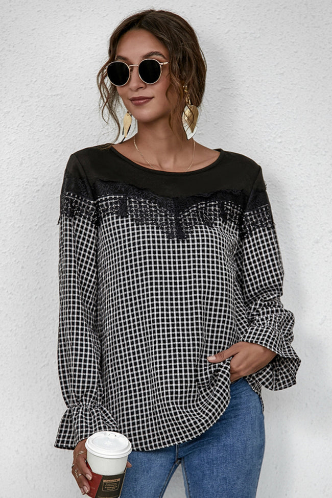 Stitching Lace Check Long Sleeve Shirt