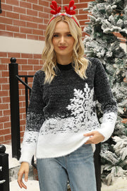Christmas Snowflake Contrast Knitted Sweater