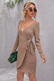 V-Neck Sheath Cardigan Long-Sleeve Knitted Dress