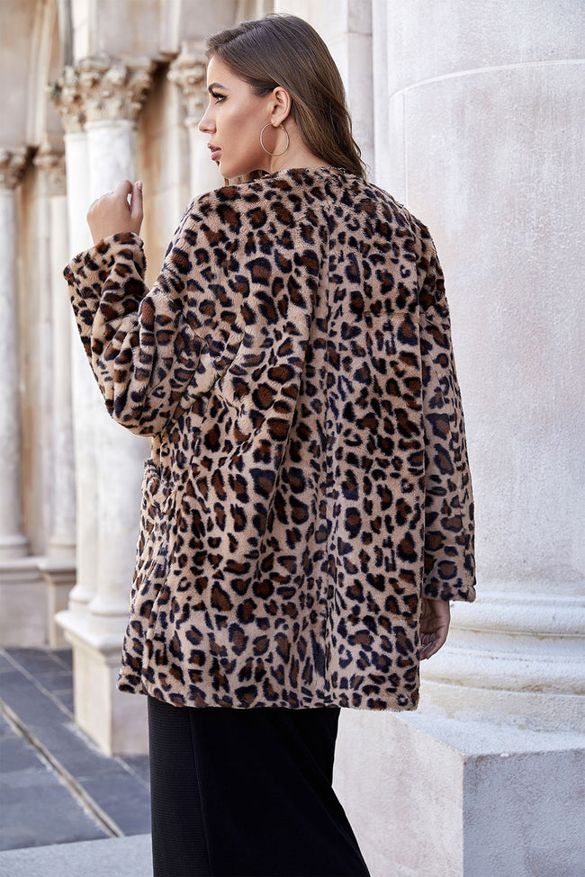 Leopard Print Mid-length Pocket Plush Coat