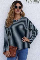 Long-Sleeve Loose Round Neck Striped T-shirt
