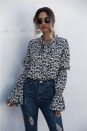 Leopard Lace Up Lantern Sleeve Blouse