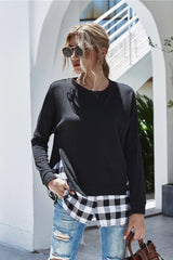 Plaid Panel Long Sleeve Knitted Top