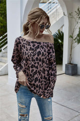 Off Shoulder Leopard Print Knitted Top