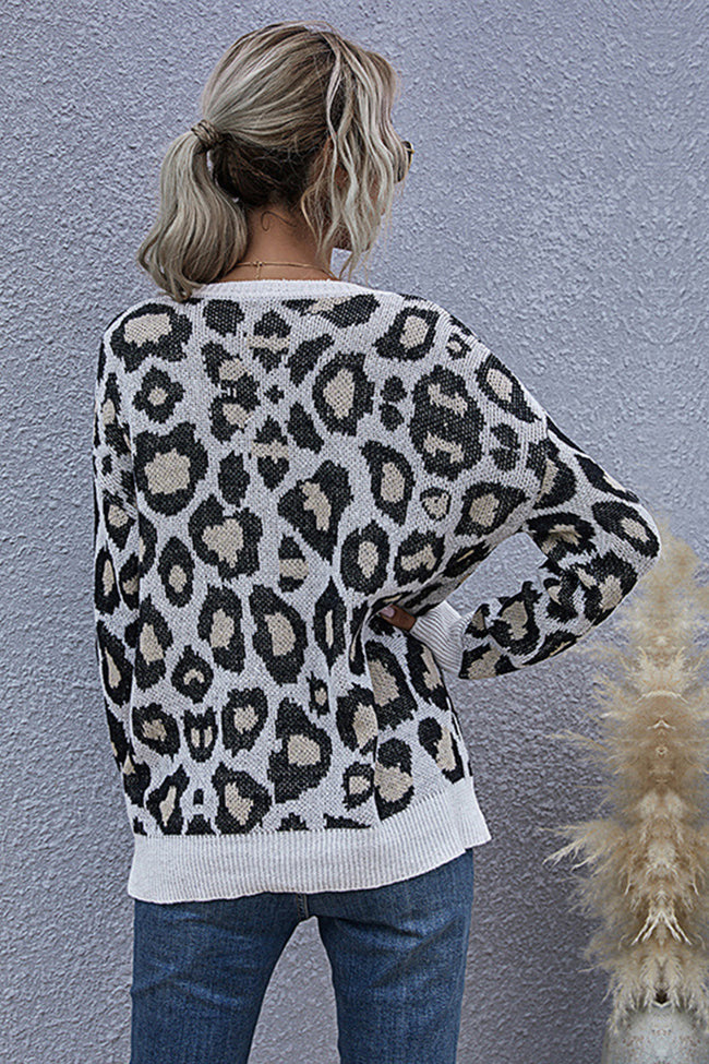Leopard Print V-neck Long Sleeve Loose Top
