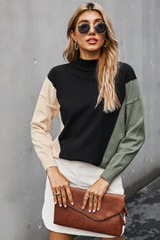 Color Contrast High Neck T-shirt