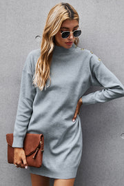 Button Solid Knit Dress