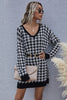 Houndstooth Pullover Slim V-neck Knitted Sweater