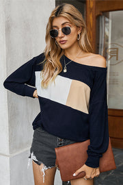 Off Shoulder Patchwork Crew Neck T-shirt