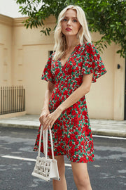 Flower Print V-neck Short Sleeve Dress