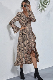 Irregular V-Neck Long-Sleeved Dress