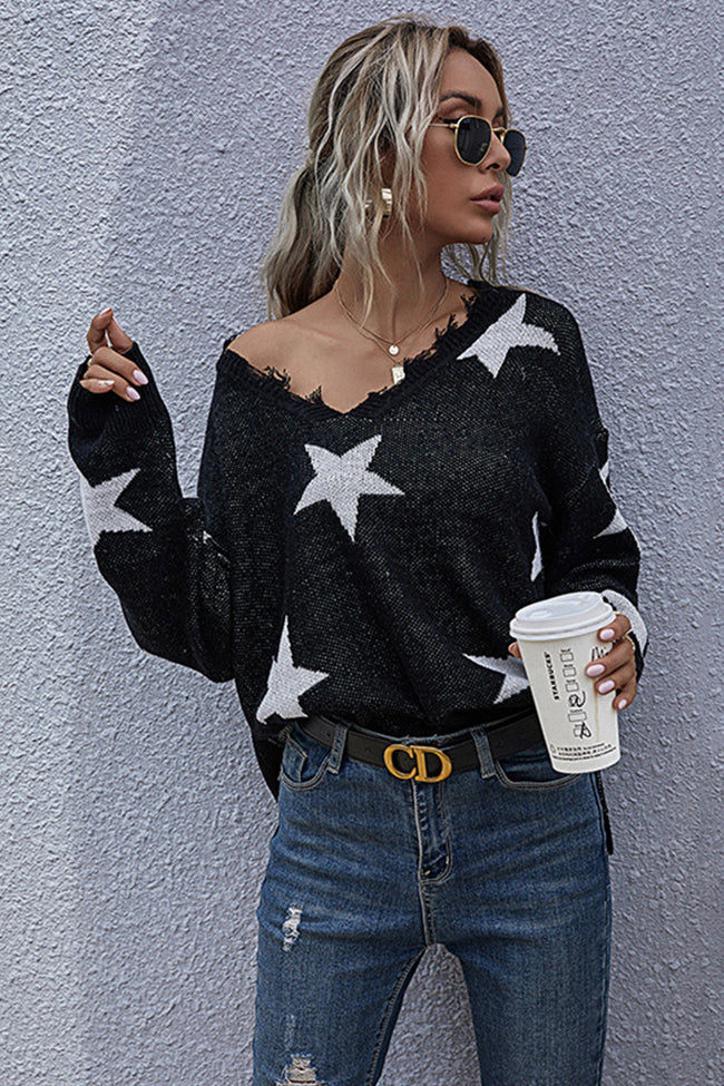 Loose Pullover V-neck Star Knitted Sweater