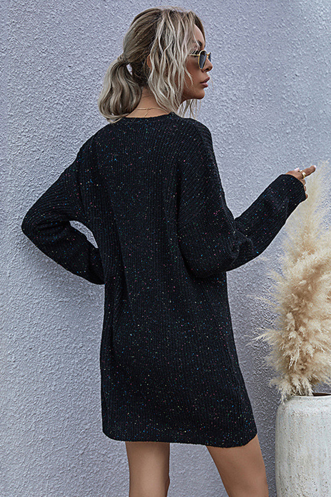 Retro Long Loose Knit Low Neck Sweater
