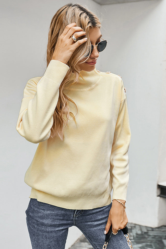 High Collar Button Solid Color Sweater
