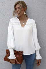 Lantern Sleeves V-neck Hollow Slit Blouse