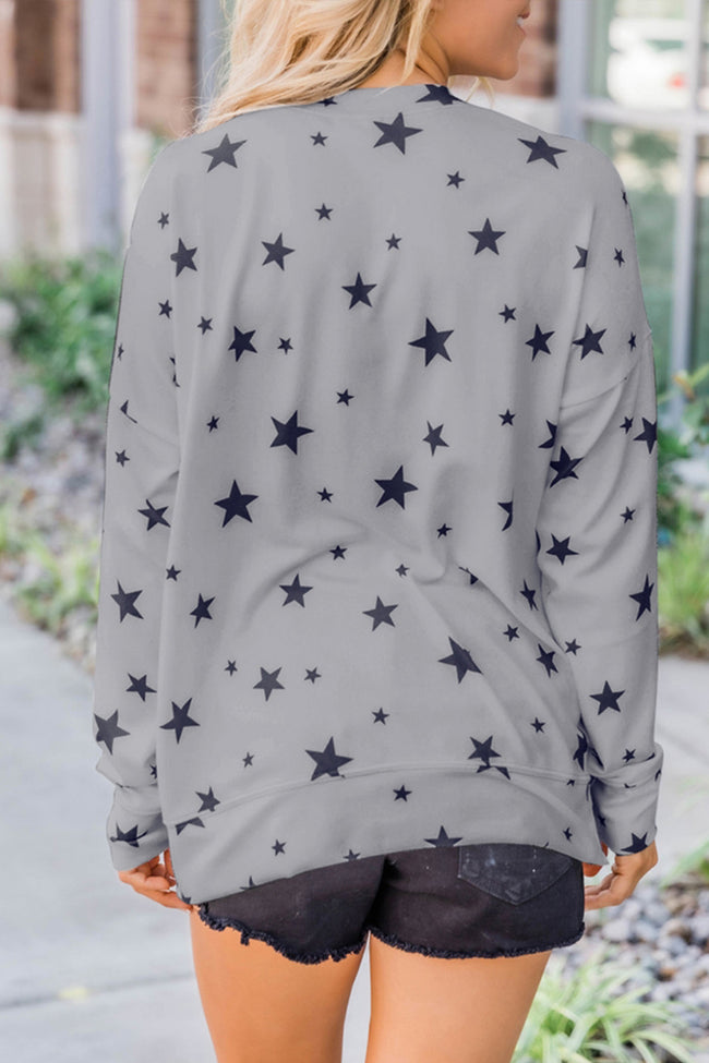 Star Printed Round Neck Pullover Sweater