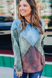 Tie-dye Contrast Stitching Pullover Sweater