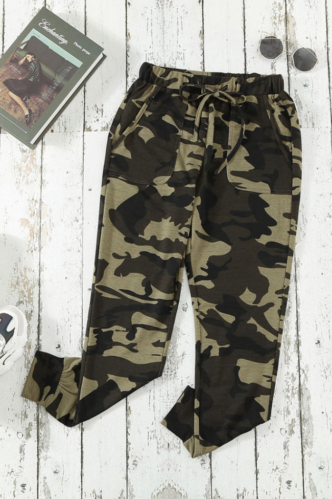 Camouflage Tether Elastic Loose Pants