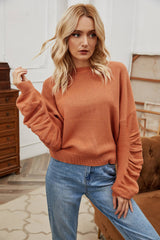 Round Neck Pleated Long-sleeved Top