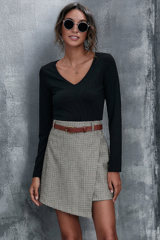 Plaid Stitching Slim A-line Skirt